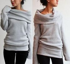 Womens Long Sleeve Loose Knitted Sweater Ladies Casual Jumper Pullover Tops New