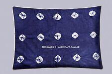 Indian Tie Dye Shibori Print Kantha Work Pillow Cover Blue Sofa Cover Home Decor