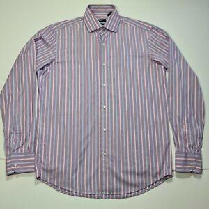 Hugo Boss Mens Shirt Purple Striped Long Sleeved Collar 15.5 Chest 44