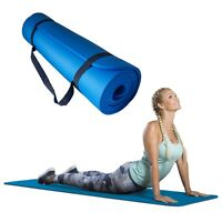 Azure Exercise Mat 10mm Extra Thick Non-Slip Large Padded Gym Yoga with Strap