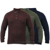 Mens Jumpers Wool Mix Knitted Pullover Funnel Neck Kensington Eastside Winter