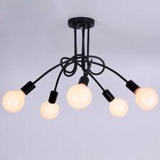 Retro Wrought Iron Semi Flush Fixture Bedroom Ceiling Lights Lamp 5-Light Black