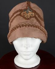 VTG 1920s Brown Embroidered Cloche Hat w/ Piping Detail #1157 20s
