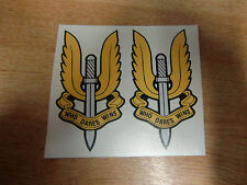 "SAS ""Who Dares Wins"" emblem - 2x motorcycle stickers / decals - 100mm"