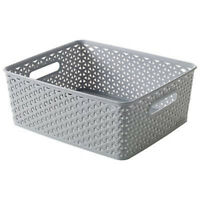 Curver Medium Plastic Rattan Storage Wicker Basket Paper Office 13 Litre Grey