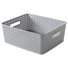 Curver Medium Plastic Rattan Storage Wicker Basket Paper Office 13 Litre Grey
