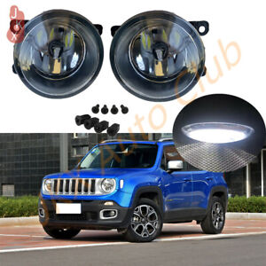 Pair LED Fog Lights Bumper Driving Lamps For Jeep Renegade 2015 2016 2017 2018