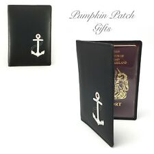 Quality Black Leather NEW Passport Holder Nautical Theme Anchor Gift Bag