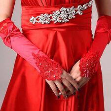 New Bride Wedding Lace Satin Bowknot Fingerless Party Bridal Gloves Dress US