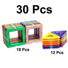 30Pcs All Magnetic Building Blocks Construction Sets Toys Educational Block New