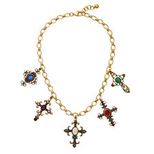 N543 Vintage Gold Ruby Sapphire Emerald Crystal Statement Necklace Cross Pendant