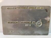 Lufthansa German Airlines Validation Plate Deutsche Ultra Rare Collectible
