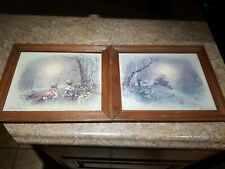 Vintage Andres Orpinas Framed Art Prints Set Wall Hanging Picture Wood Brown