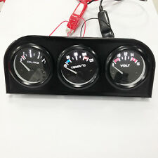 Car Auto Triple Gauge Kit VoltMeter Water Temp Oil Pressure Meter Black 52mm