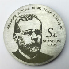 Tribute to Discoverer of Scandium 1.5 inch 38.1mm diameter Pure Sc Metal Coin