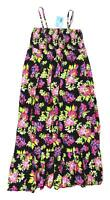 Papaya Womens Size 14 Floral Cotton Strappy Black Summer Frill Maxi Dress (Regul