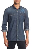 JOHN VARVATOS USA Mens DESERT ROSE Indigo Denim Western Jean Shirt W544U2B-63BJ