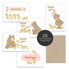 Paper Frenzy Spring Bear and Ducks Thank You Note Card Collection 25 pack with