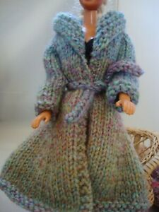 """Hand Knit Doll Clothes fitted Coat Blue Shades fits 11.5"""" fashion such as Barbie"""