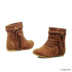 Womens Suede Slouch Tassel Flat Heels Ankle Boots Winter Warm Fashion Shoes Lady