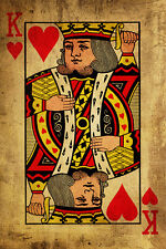 """King of Hearts #6 Canvas Art Poster 16/""""x 24/"""" Playing Card Poster"""