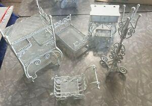 Miniature Dollhouse White Metal Wicker Coat & Bakers Racks, Bed, Vanity,  1:12