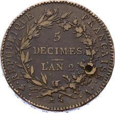 O2341 RARE Constitution 5 Décimes regeneration An 2 1793 A Paris ->F offre