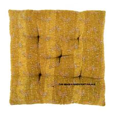 15'' Chair Seat Cushion Square Soft Cotton Thick Pad Padded Indian Kantha Quilt