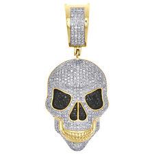 "10K Yellow Gold White & Black Diamond Scary Skull Pendant Charm 1.70"" | 0.76 CT."