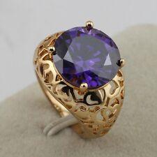 Size 5.5~8.5 Fabulous Fashion Jewelry Purple Amethyst Gold Filled Ring rj1583