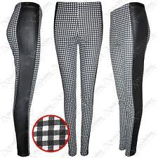 NEW WOMENS GINGHAM CHECK BLACK WET LOOK LEGGINGS LADIES STRETCH PANTS TROUSERS