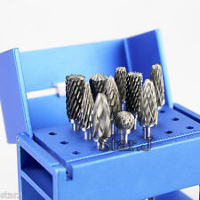 10 Dental Lab Titanium Nitrate Carbide Burs Polishers + 1 HP Holder Block
