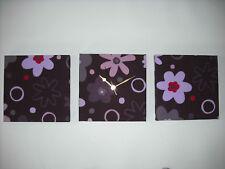 3 AUBERGINE PURPLE PLUM LILAC RED FLORAL FLOWERED WALL HANGINGS CLOCK SET 30cm