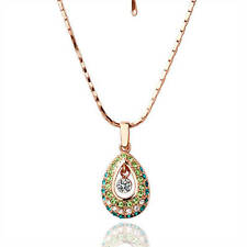 New 18K Rose Gold GP Fashion Drop Pendant Necklace Chain Green SWAROVSKI Crystal