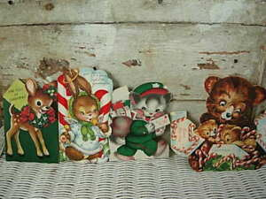 LOT OF 4 VINTAGE CHILDRENS CHRISTMAS CARDS FLOCKING, BUNNY STAND UP