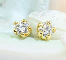18k  Gold Filled Tiny Round Cubic Zirconia Stud Earrings, 3 mm