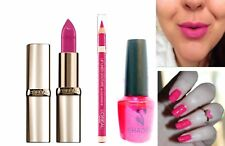 Loreal 3pc Rose Pink Trio Set Nail Varnish & Riche Lipstick with Loreal Lipliner