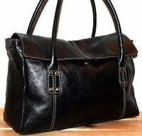 M&S LEATHER BOHO/HOBO BLACK BUCKET SHOULDER BAG/TOTE/PURSE