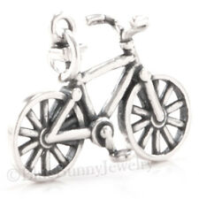 3D BICYCLE Bike Charm Pendant STERLING SILVER 925 detailed