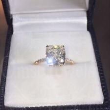 3Ct Kissen Sparkle gefeuert Moissanite Verlobungsring 14K Echtes Weißgold