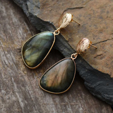Large Natural Gemstone Labradorite Gold Shell Dangle Drop Earrings Boho
