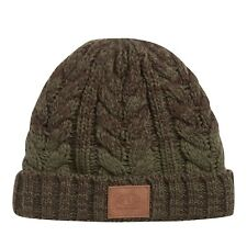 ANIMAL MENS BEANIE HAT.NEW BEAR FAUX FUR LINED GREEN CABLE KNIT WOOLLY CAP 9W 5