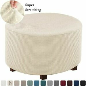Stretch Elastic Ottoman Slipcover Round Ottoman Footstool Protect Full Cover M/L