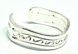 Toe Ring 3 Band Greek Wave Style Strong Silver Plated Adjust Boho Ethnic Ladies
