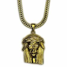 18k Gold Plated Mini Jesus Piece 1.5 inches with 30 inch Flat Franco Chain