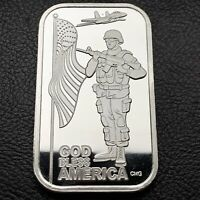 God Bless America Proof Like CMG Mint 1 oz .999 Silver Art Bar 99 Minted (9288)