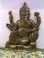 Chinese Tibet Buddhism old brass gild Ganesha Elephant god Mammon Buddha Statue