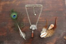 Beautiful Handmade Silver Double Chain & Red Sandstone Silver Pendant Necklace