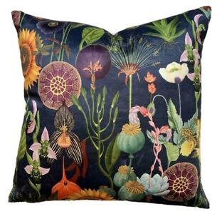 Navy Blue Italian Velvet Cushion Cover Poppy Sunflowers Dandelion Orchid Botanic