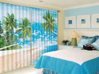 Beach Seawater Coconut Trees 3D Curtain Blockout Photo Printing Curtains Drape